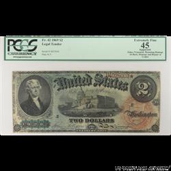 1869 $2 Legal Tender Note PCGS  EF45 Apparent FR#42 Allison Spinner SN# U4025003