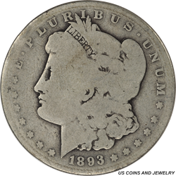 1893-S Morgan Dollar - Very Circulated - Key Date for the Morgan Series