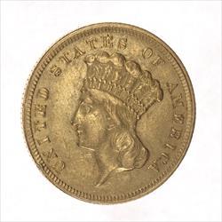 1854-O Indian Princess Head $3 Gold Piece, Circulated XF