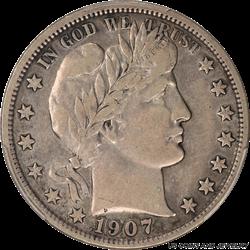 1907-S Barber Half Dollar PCGS VF30 Better Date Barber Half