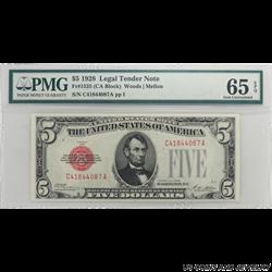 1928 $5 LEGAL TENDER NOTE FR 1525 (CA BLOCK) SN