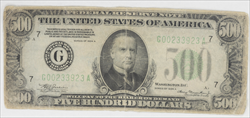 Fr. 2202-G SSeries 1934 A $500 Federal Reserve Note S/N G00233923A Raw / Circulated (Very Good - Fine)