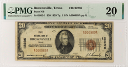 $20 State NB of Brownsville TX National Currency PMG