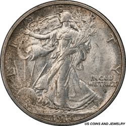 1916-D Walking Liberty Half Dollar PCGS MS63 Lightly Toned Surface