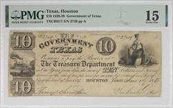 Texas, Houston $10 Government of Texas Note PMG CF15 Sam Houston SN# 2749