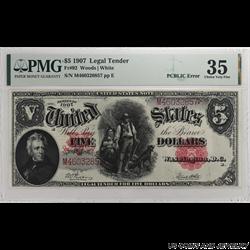 1907 $5 Legal Tender, Fr. 92; PMG  Choice Very Fine - Nice, White Original Note