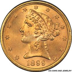 1899 Liberty Head $5 Gold Half Eagle PCGS MS65 Frosty Matt Like Luster