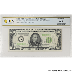 1934 $500 Federal Reserve Note, Fr. 2201-G, Chicago,  PCGS 63 Choice Uncirculated