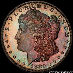 1880 Morgan Silver Dollar Rainbow Toning PCGS PR66+