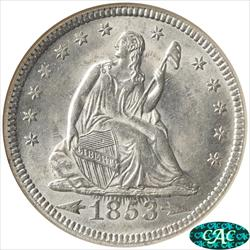 1853 Seated Liberty Quarter NGC MS 63 CAC