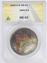 1890-O Morgan Silver Dollar ANACS MS 63,  Beautiful Toning!!