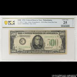 1934 $500 Federal Reserve Note Philadelphia PCGS VF 25 Fr . 2201-C* - STAR NOTE!!