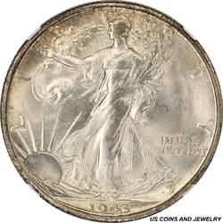1943-S Walking Liberty Half Dollar NGC MS65+