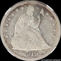 1849 Seated Liberty Dollar NGC XF40 Low Mintage Seated Dollar