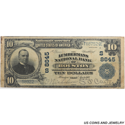 1902 $10 Plain Back, The Lumbermans NB of Houston -  Circulated, Very Fine Condition