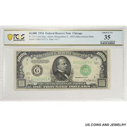 1934 $1000 Federal Reserve Note, Fr. 2211-G, Chicago, PCGS   Choice 35 Very Fine
