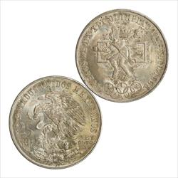 1968 Mexico Silver 25 Pesos Olympics AU-BU