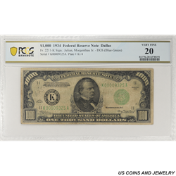 1934 $1000 Federal Reserve Note, Fr. 2211-K, Dallas, PCGS 20 Very Fine - Scare Note