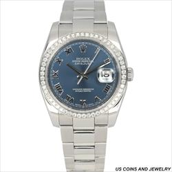 Rolex 36mm DateJust 116200 Blue Roman W AM DB With Papers