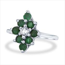 .65cttw Natural Round Cut Emerald and Diamond Ring in 14k White Gold