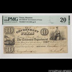1838 Government of Texas $10 Note PMG VF 20 TXCRH17 S/N 2895 Houston