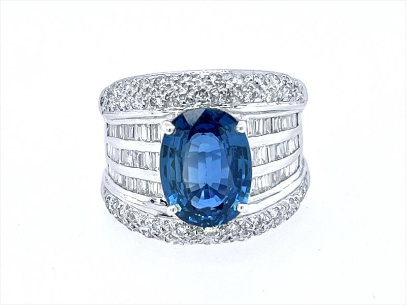4.33ct Natural Blue Sapphire Ring with 1.5cttw Diamond Accents in 18k White Gold