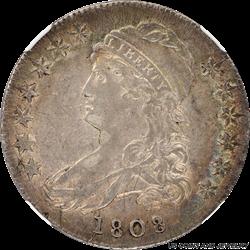 1808/7 Capped Bust Half Dollar O-101 NGC AU50