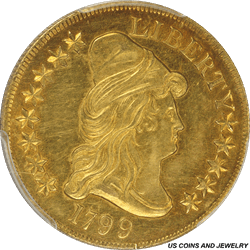 1799 Capped Bust Right Eagle, Large Obverse Stars, PCGS AU55 - Nice Original Appearance