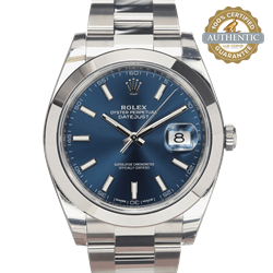 Rolex 41mm DATEJUST 126300 Blue Stick Index SS Oyster With stickers