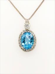 Beautiful Topaz & Diamond Halo Pendant / Necklace, 14k White Gold