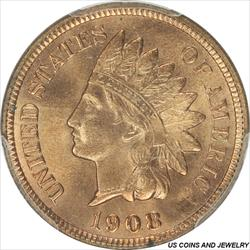 1908-S Indian Cent PCGS MS66RD Golden Wheat Red