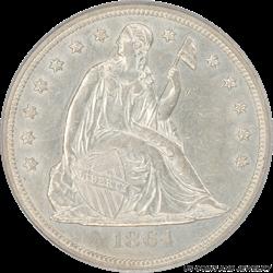 1864 Seated Liberty Dollar OGH PCGS AU58