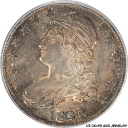 1834  Capped Bust Half Dollar Large Date Small Letters PCGS MS63