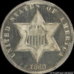 1868 Three Cent Silver Trime Cameo Proof PCGS PR63CAM Frosty Cameo