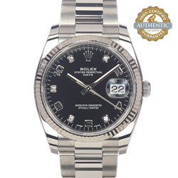Rolex 34mm Oyster Perpetual Date Ref/115234 Arabic/Diamond Dial Watch Only