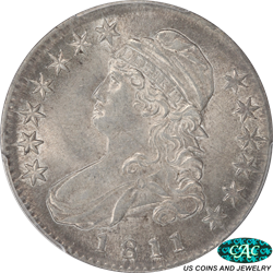 1811 Capped Bust Half Dollar Small 8 PCGS AU-58 (CAC)