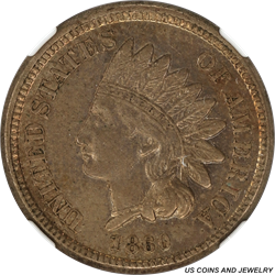 1860 Indian Cent NGC AU58 Nice Super Slider with some decent luster