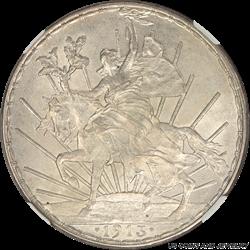 Mexico 1913 Caballito Peso Silver NGC MS 62 Rare in High Grades