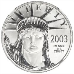 2003 $50 American Platinum Eagle NGC MS70