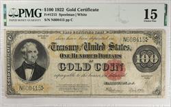 $100 1922 Gold Certificate FR#1215 PMG CF15 Speelman White