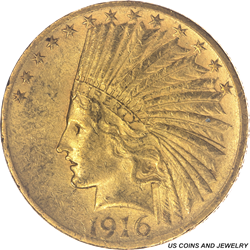 1916-S Indian $10 Gold Eagle Uncirculated - Nice Original Coin