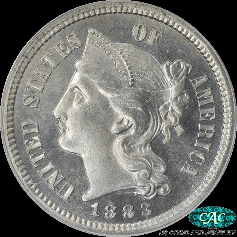 1883 Three Cent Nickel PCGS PR-67 CAC (OGH)