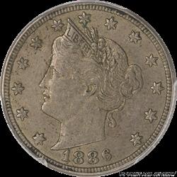 1886 Liberty V Nickel PCGS AU53 - Nice Original Coin