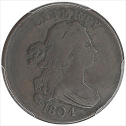 1804  Draped Bust Half Cent PCGS VF20 Plain 4 No Stems