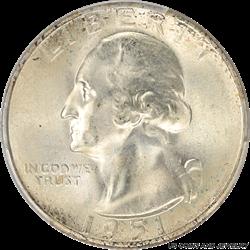 1951-S Washington Quarter PCGS MS67 Frosty PQ+ Coin