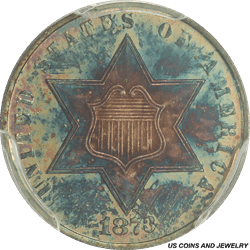 1873 Three Cent Silver Trime Proof Toned PCGS PR65