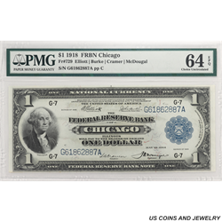 1918 $1 Federal Reserve Bank Note - Chicago; Fr 729, PMG 64 EPQ - Nice Note