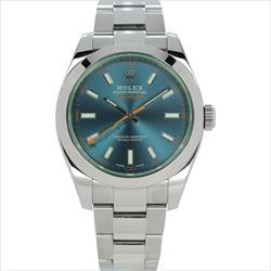 Rolex 40mm Milgauss 116400GV Blue Dial w Green Crystal
