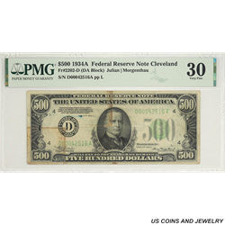 1934A $500 Federal Reserve Note Cleveland PMG  VF 30 FR#2202-D SN D00042516A