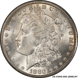 1880-CC Morgan Silver Dollar PCGS MS63+ A Sharp Attractive Coin with lots of Eye Appeal